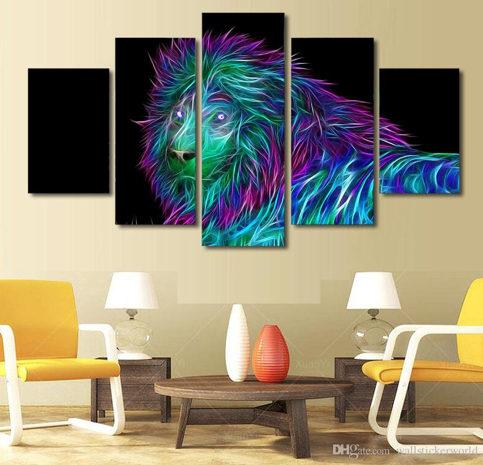 Framed Printed abstract art lion Painting Canvas Print room decor print poster picture canvas /ny-4980