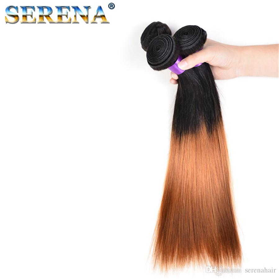 Neue Ankunft dunkle Wurzelfarbe 1b 30 # Honig blonde Ombre gerade Haarverlängerungen reines brasilianisches zwei Ton Menschenhaar Weben Schuss Ombre Weave