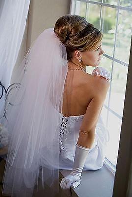 جديد 2 طن الأبيض / العاج الزفاف الكوع طول قطع حافة الزفاف مع مشط تول الحجاب الزفاف
