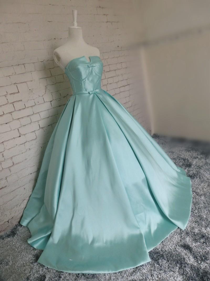 Véritables photos long ciel bleu bow robes de bal robes de bal 2018 nouveau design sexy sexy robe de soirée sans bretelles robe de festa