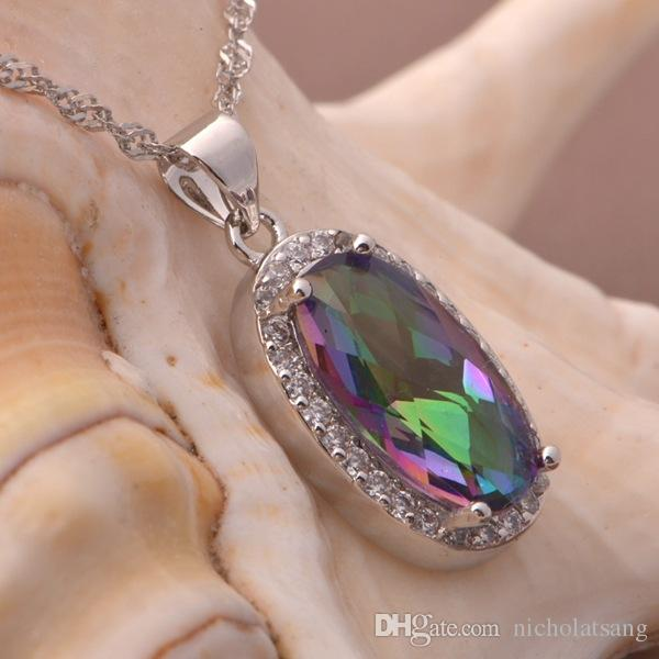 Brand New Hot Sale Genuine Rainbow Fire Mystic Topaz Oval Pendant Necklace Rings Earrings For Women 925 Sterling Silver Jewelry Set