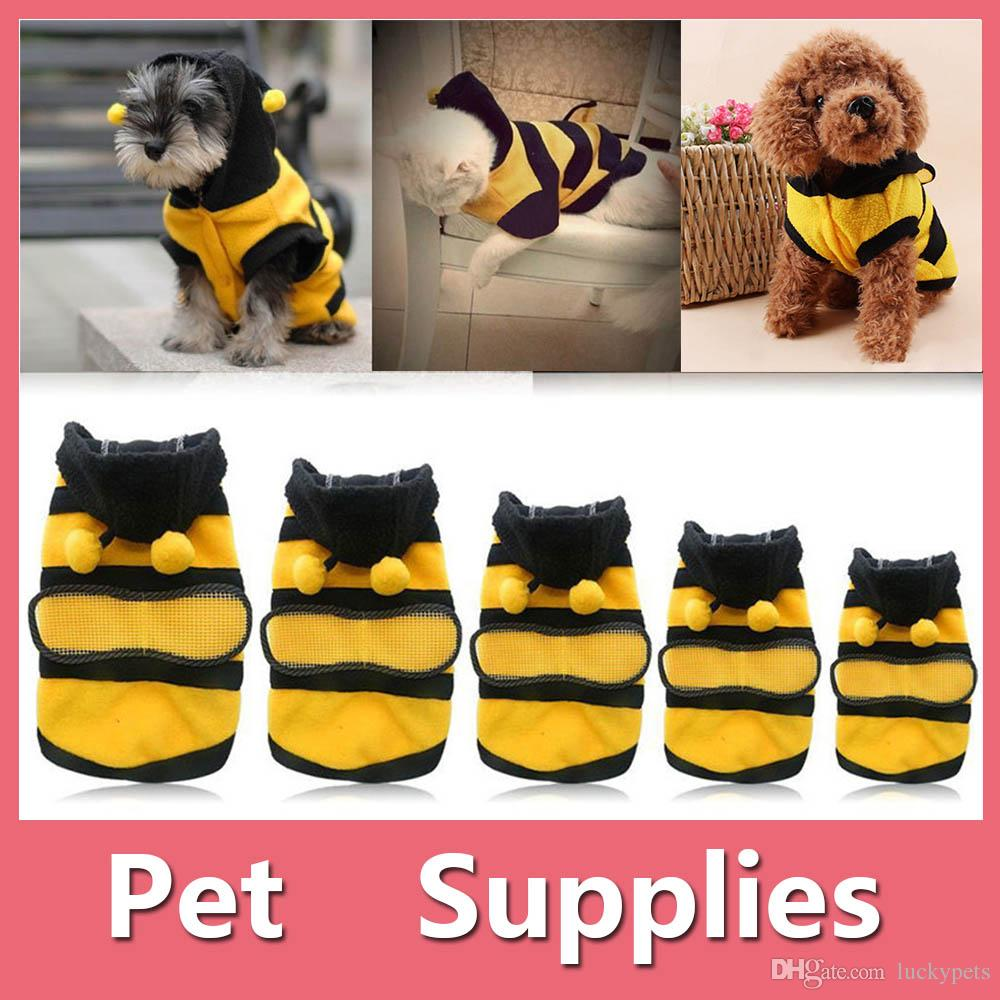 Pet Hoodie Clothes Cute Puppy Apparel Costume Cat Dog Winter Coat Outfit Bee Supplies 5 Size XS-XL