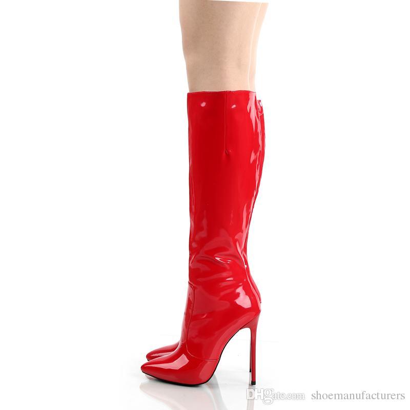 Stivali in pelle PU con vernice lucida rossa le donne Sexy con tacco alto 12 cm Scarpe con suola nera Design italiano fatti a mano Stivali al ginocchio con punta 624-1