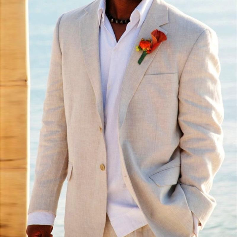 Light Beige Linen Suits Beach Wedding Tuxedos For Men Custom Made Linen Suit Tailor Made Groom Suit Cool Men's Linen Tuxedos handsome
