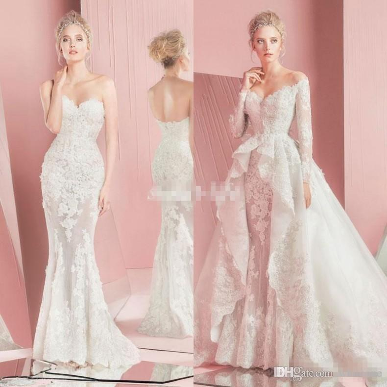 Zuhair Murad Detachable Wedding Dresses 2016 Fall Winter Lace Long Sleeves Overskirts Fitted Sweetheart Applique Sheath Beach Bridal Gowns Wedding