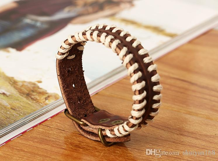 Retro Leather Mens Wrap Punk Bracelet Bangles Wristband Belt Handmade Bracelet Genuine Cowhide tribal Leather Bracelet Christmas Gift