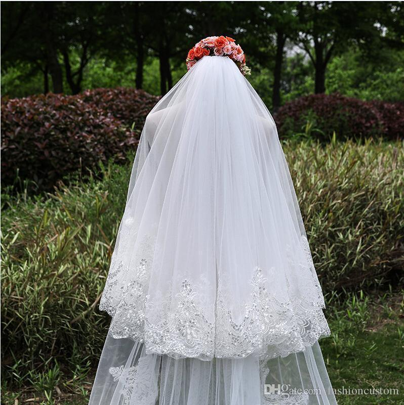 New Arrival 3M Cathedral Wedding Veil Bridal veil 2T White ivory Lace Edge With comb 704
