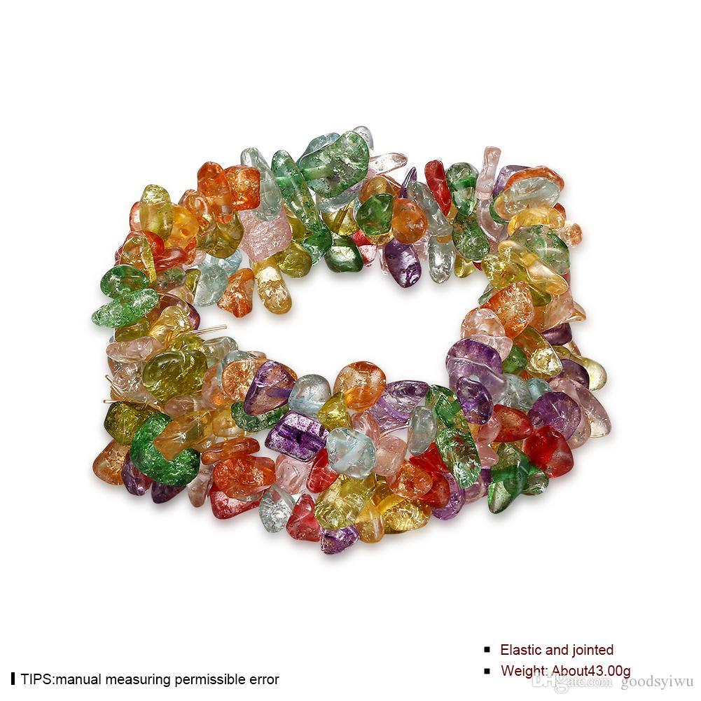 Bracelet de Pierre Naturelle Mixte 7 Couleur Multicouches Fluorite Gemmes turquoise améthyste Cristal Bracelet Perle de Pierre pour les femmes NTRSH001-E