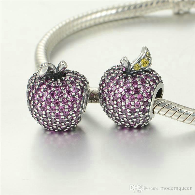 Apple Charms Beads 925 Sterling Silver se adapta a la pulsera de estilo DIY y el collar 791485CFR H6