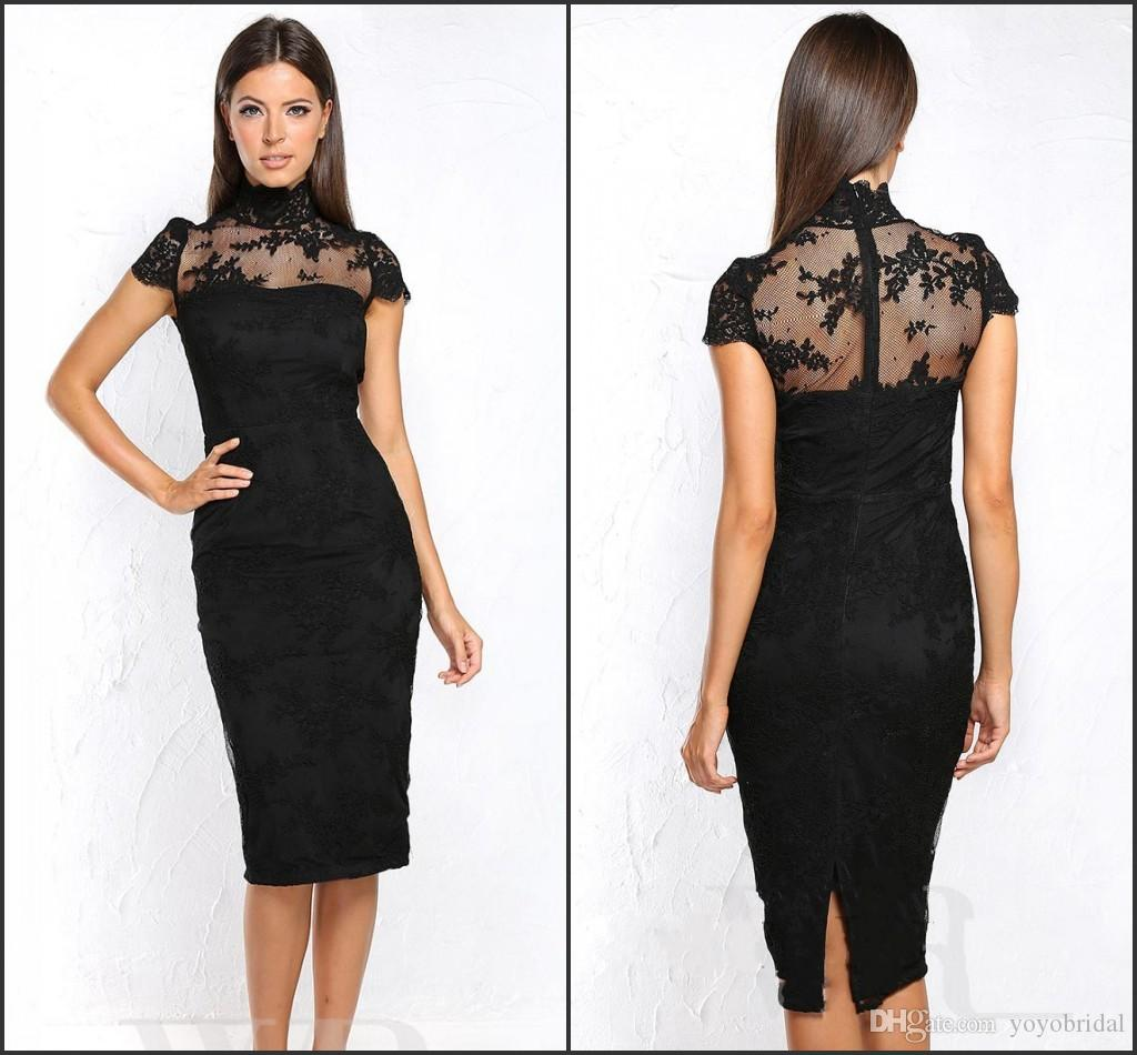 Vintage High Neck Black Cocktail Dresses Knee Length Short Sleeves ...