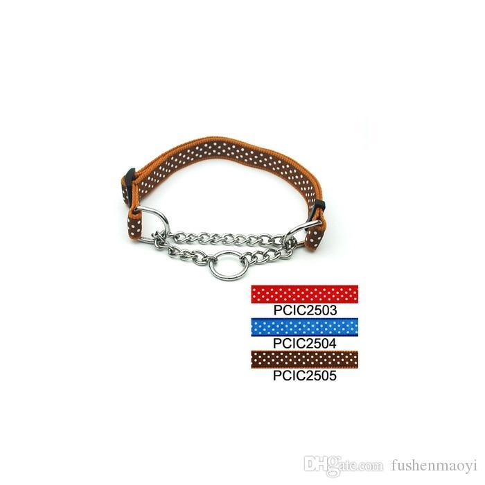 Горячие товары для животных ошейники регулируемые точки печати дроссель цепи ошейники 2.5 см ширина собака аксессуары