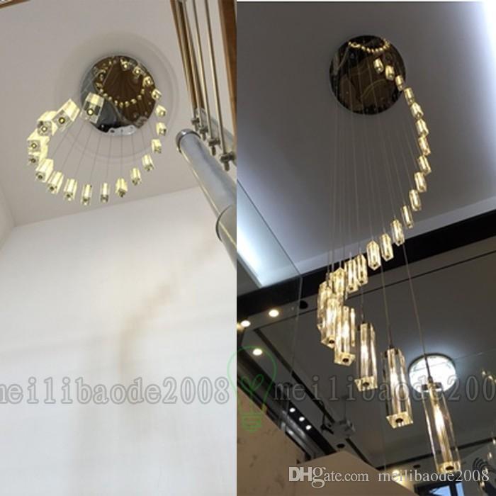 K9 Kristall Rod Spirale Deckenleuchte Moderne Kreative LED Loft Kronleuchter Wohnzimmer Hotel Bar Leuchte Kronleuchter Licht MYY69