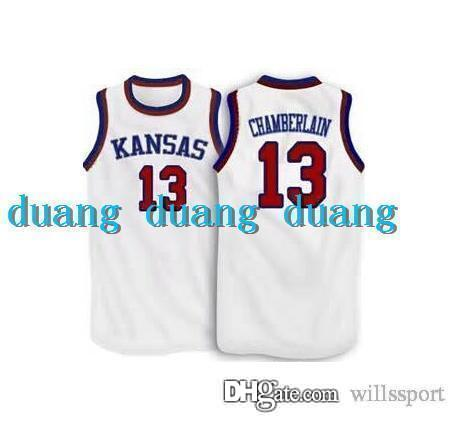 ... 13 Wilt Chamberlain Jersey Kansas Jayhawks Wilt Chamberlain College  Basketball Jersey White Blue Customized Throwback Stitched ... 111263abf