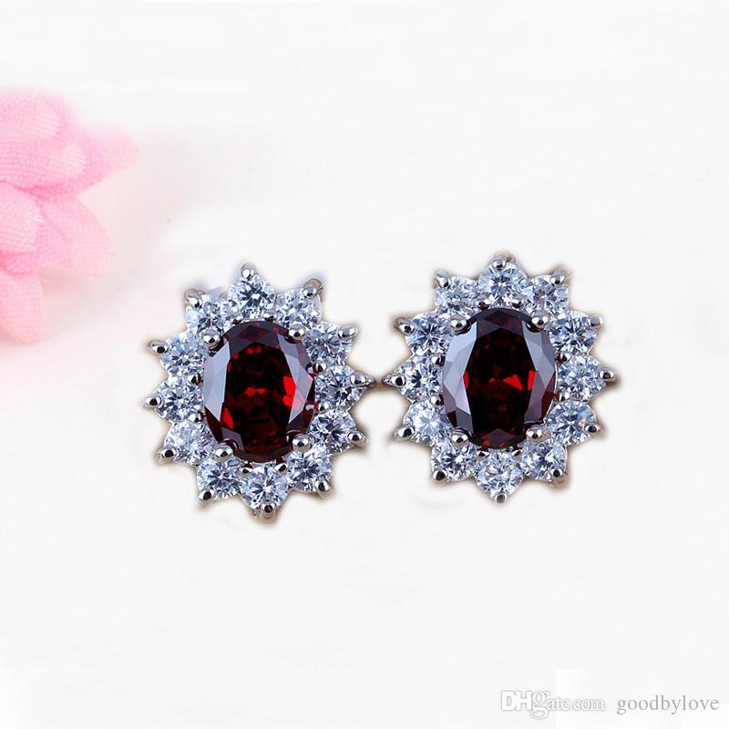 New Arrivals Fashion Jewelry 18K White Gold Plated Red Ruby Stone Clear Crystal Paved Stud Earrings for Women