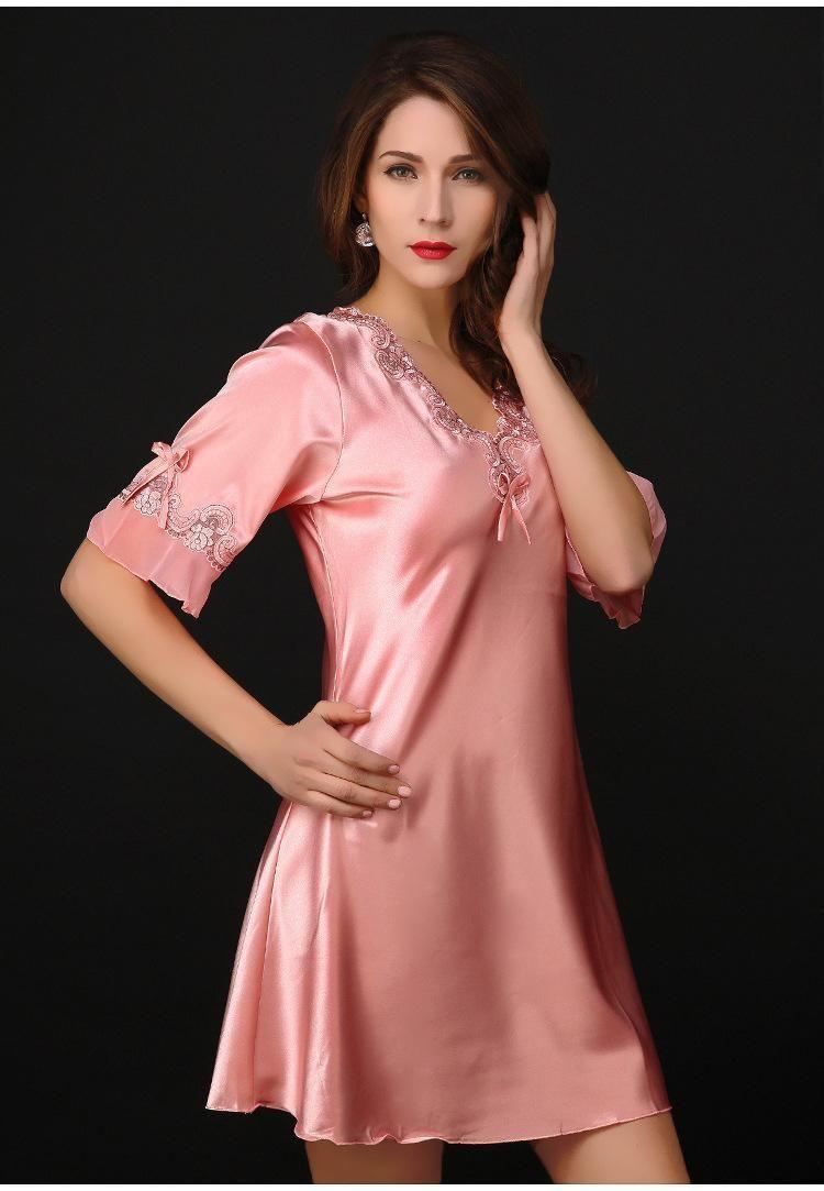2019 Wholesale Nightgown Pijama Victoria Sexy Silk Night Dress Lace Plus  Size Short Sleeve Pyjamas Women Nightwear Sleepwear Nuisette Femme From  Stepheen 015ef3365