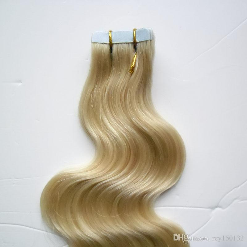 #613 Bleach Blonde Use of human hair body wave Skin Weft blonde brazilian hair tape in human hair extensions 100g