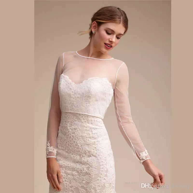 Sheer Wedding Capes Simple Shawl Para Vestidos de Novia Elegantes Manga Larga de Encaje Nupcial Chaquetas de Encaje Blanco Boda Accesorios Apliques