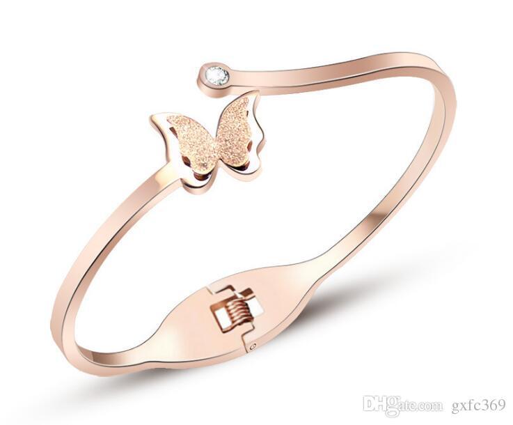 Moda borboleta areia superfície titanium pulseira de aço de alta qualidade não se desvanece ouro rosa 18k