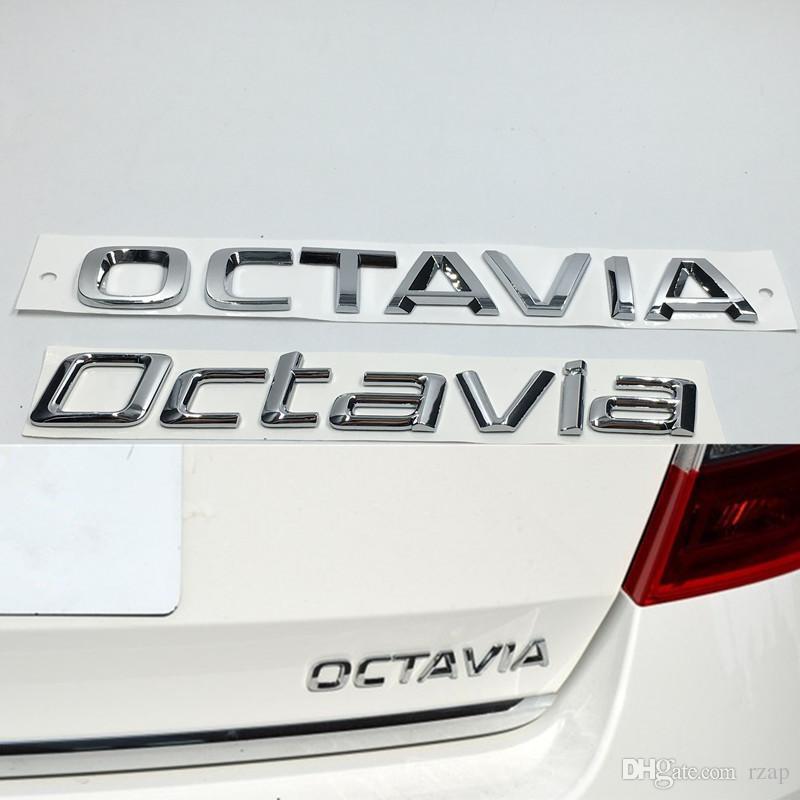 3D Car Silver Decal For Skoda Octavia Badge Emblem ABS Chrome Logo Auto Rear Trunk Sticker
