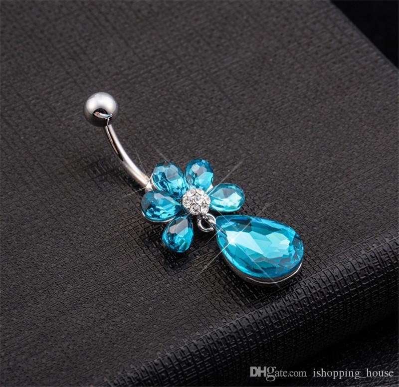Vendita calda Grande Qualità Bianco Blu Diamon Bar Banna Bottone Anelli Piercing Body Body Anello gioielli Gioielli la giovane donna BR-050