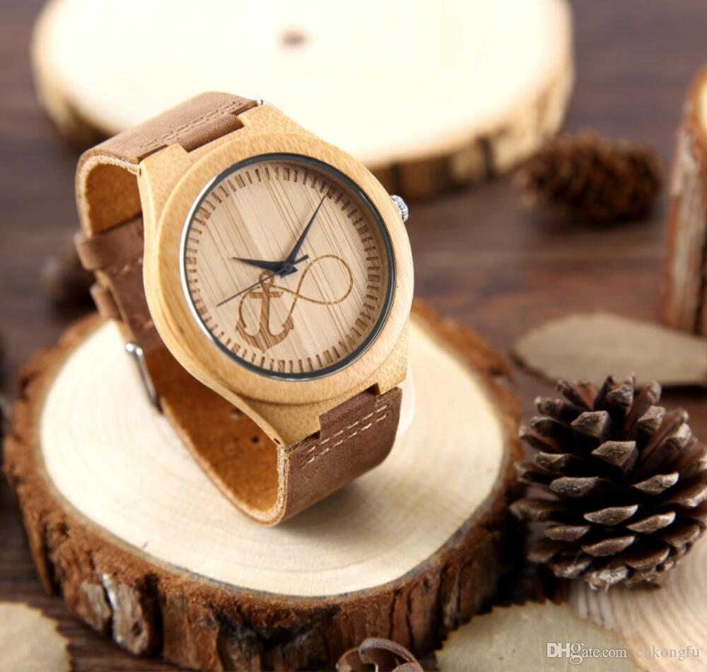 bamboo wood leather product mens viable men box and watches unique genuine design watch s gift natural harvest sundial
