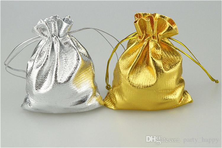 2016 Gold Silver Stain Organza Jewelry Gift Wedding Favors Bags Pouch Gift Bags Wedding Supplies Party Wedding Favors Small Gifts Bags