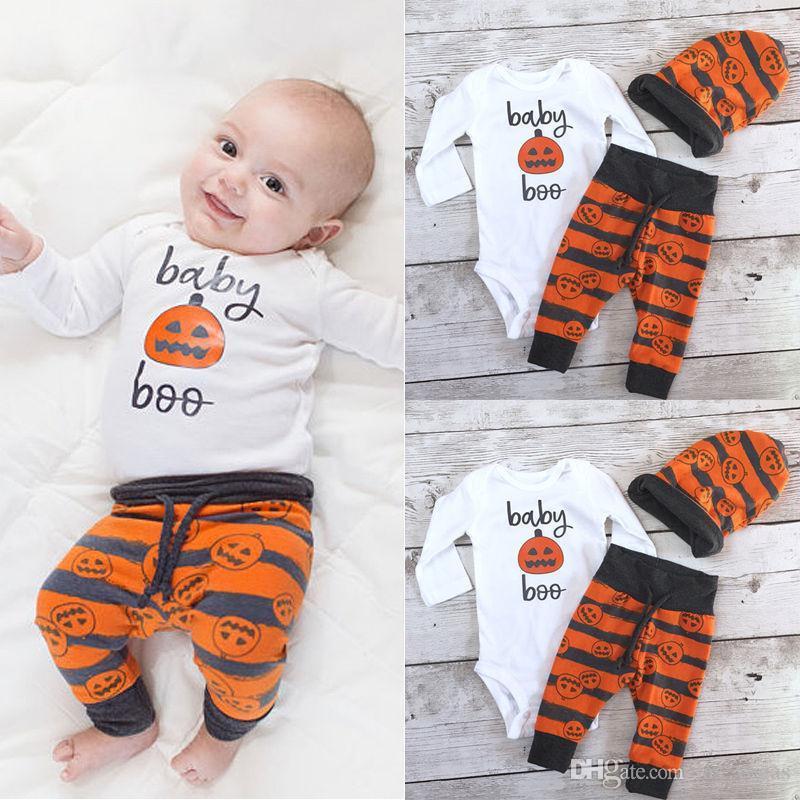 2018 halloween costume fashion newborn baby boy girl pumpkin top bodysuit romper pants hat outfits set from las_vegas 3365 dhgatecom