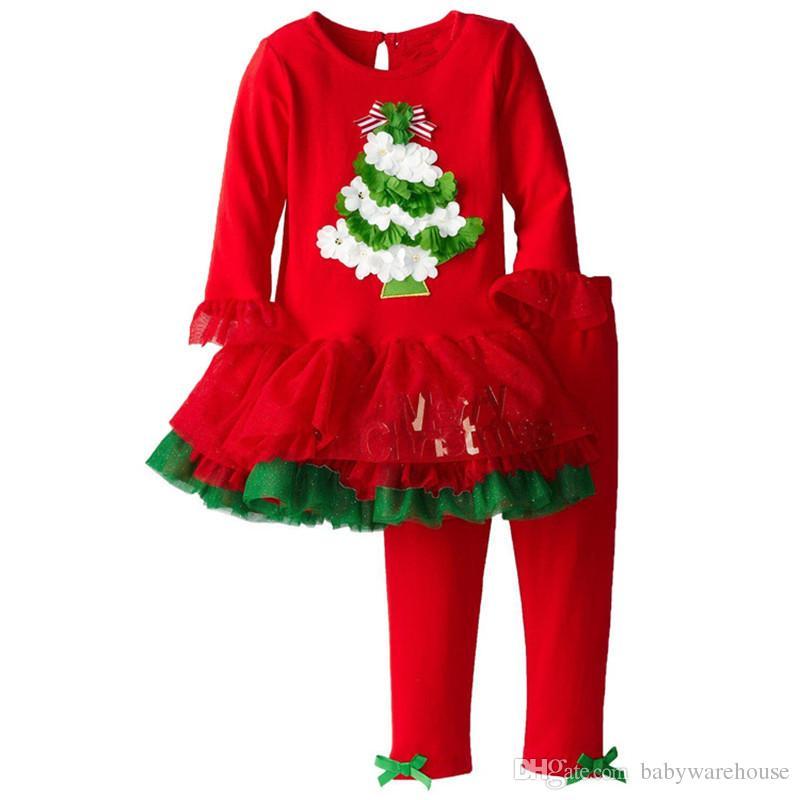 Vêtements de noël Bébé Sanda Rennes Motif De L'arbre À Manches Longues T-shirt Robe Et Pantalon Deux Pièce Bébé Filles Xmas Outfits Set Filles Vêtements