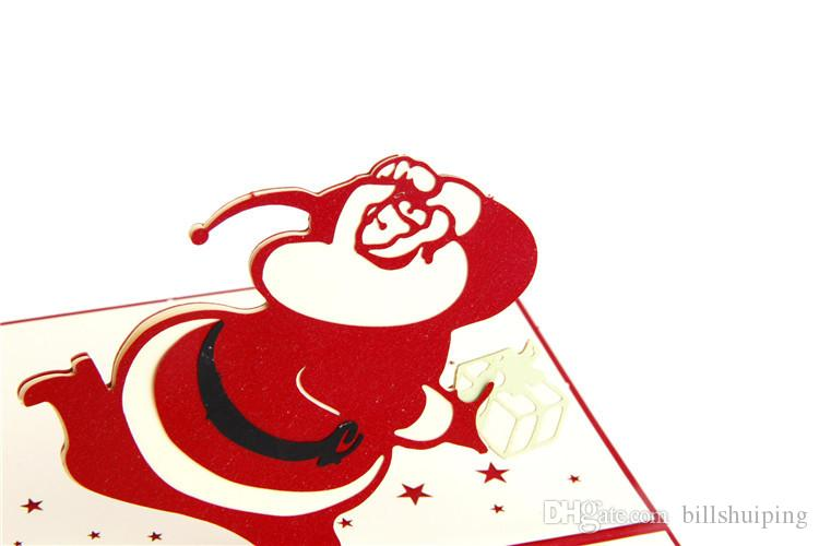 New 3D Pop Up Merry Chirstmas Greeting Card Natale Babbo Natale pupazzo di neve carta regalo all'ingrosso