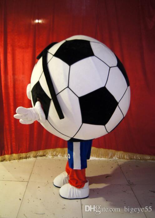 高品質のリアル写真デラックスサッカーマスコット衣装アニメ衣装広告マスコットアダルトサイズファクトリーダイレクト送料無料