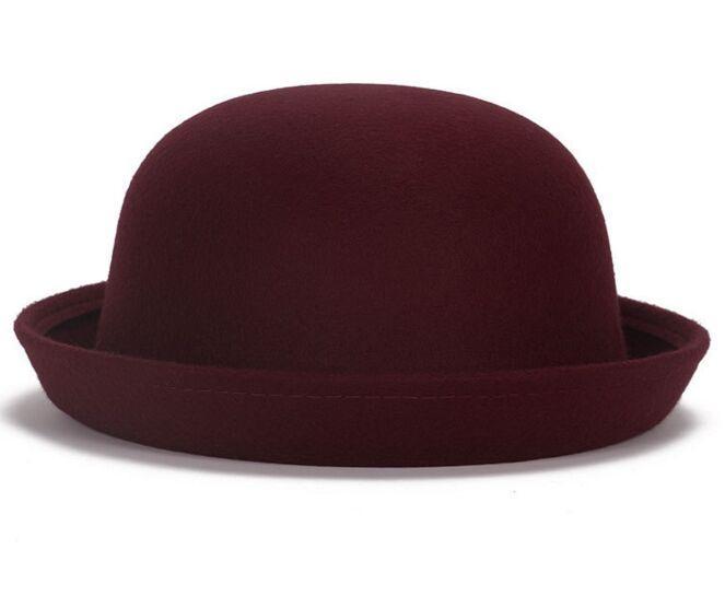 Fashion Vintage Woman Wool Cloche Hats Cap Winter Elegant Plain Bowler Derby Small Fedoras Hat Ladies hats by alice