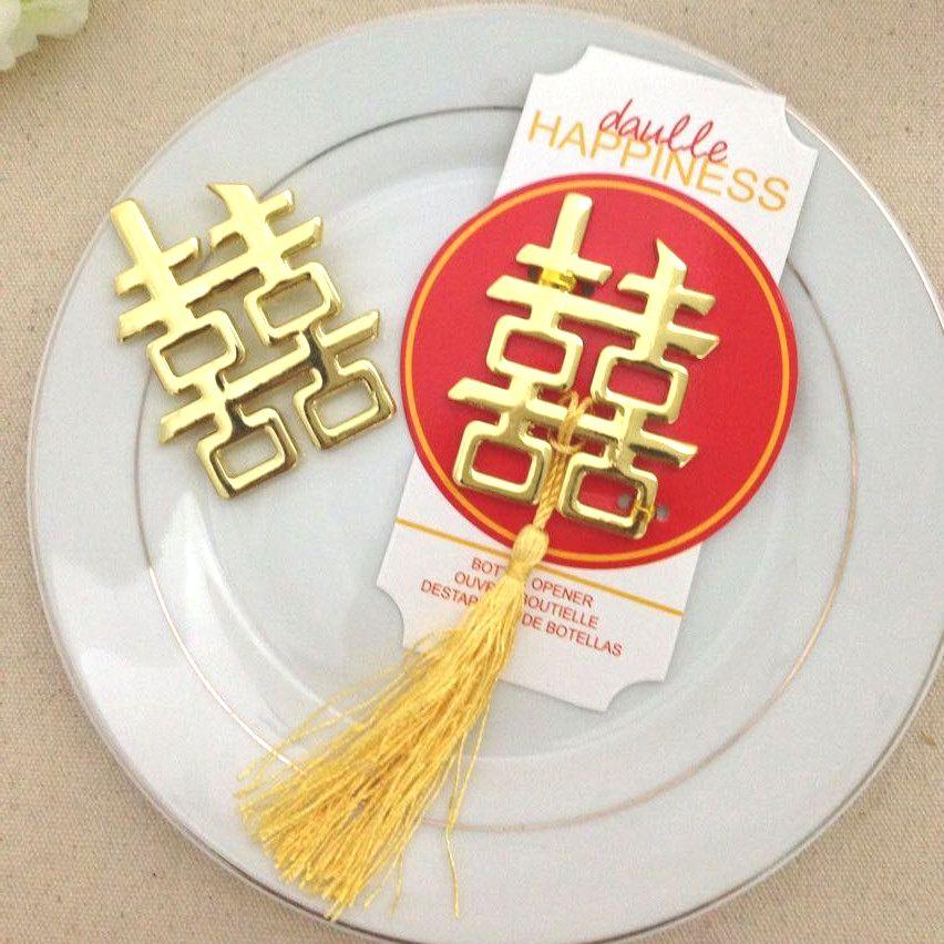 cinese asiatico a tema doppia felicità apribottiglie di nozze partito favori toreaway di nozze spedizione gratuita # GV523
