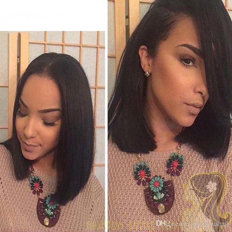 Brasileiro full lace perucas de cabelo humano para mulheres balck curto bob perucas de seda em linha reta glueless frente perucas 130% de densidade