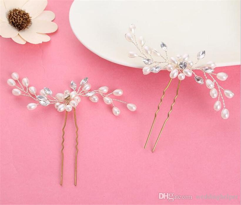 Wholesale Wedding Bridal U Pins Headpiece Pearl Hair Accessories Clip Gold Crystal Rhinestone Pieces Princess Queen Crown Tiara Jewelry