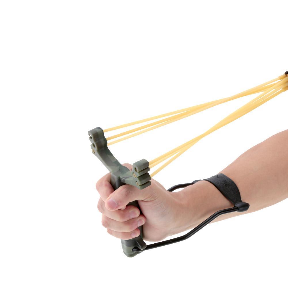 성인 Slingshot 야외 강력한 슬링 샷 접는 손목 위장 사냥 Slingshot 대리석 게임 사냥을위한 투석기