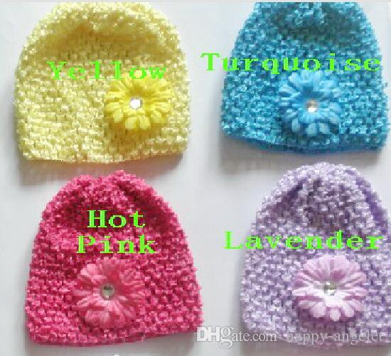 "100pcs baby waffle crochet hats hair flowers clips sunny soft toddler beanie with 2"" mini daisy flower stretch caps feshion hot sell MZ9112"
