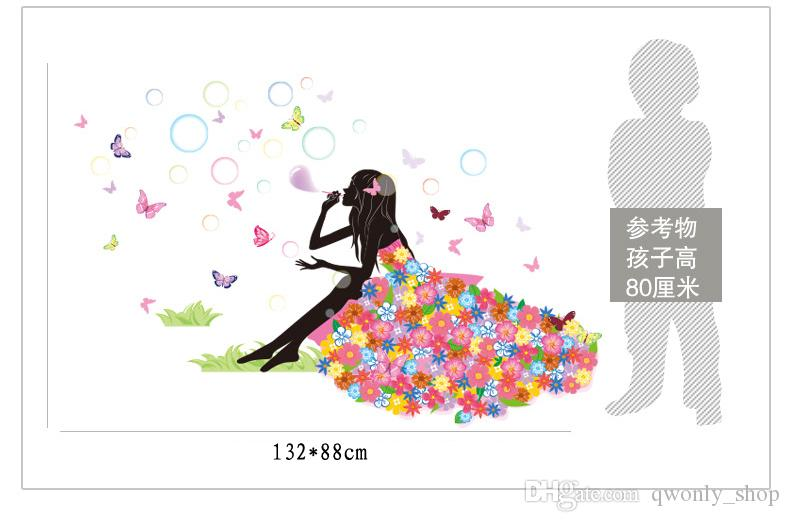 Wall Sticker Home Decor Pretty Flower Fairy Beautful Girl Blow Bubbles 2017 Creative Design PVC Mural Decal Room Decorative