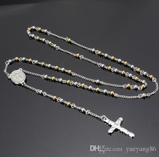 Women's Good Jewelry 4mm 26''+4'' Gold Silver Bead Chain 316L Stainless Steel Crucifix Rosary Necklace Thin
