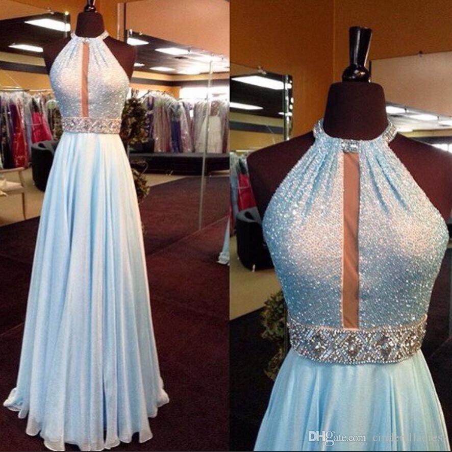 New Bling Halter Paillettes Prom Dresses 2K16 Collo alto A Line Chiffon di perline di cristallo Sash Backless Hollow Sexy abiti da sera formale Celebrità
