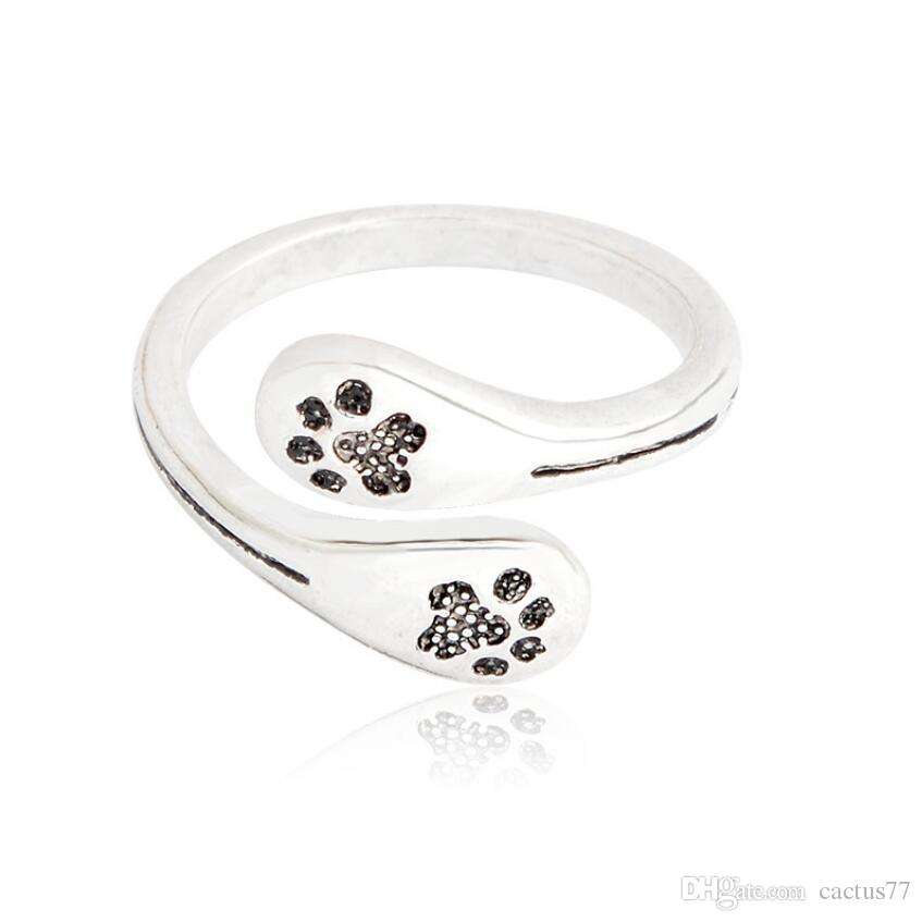 hollow open com animal jewelry fashion adjustable love cat rings buyincoins dog item print heart ring paw pet