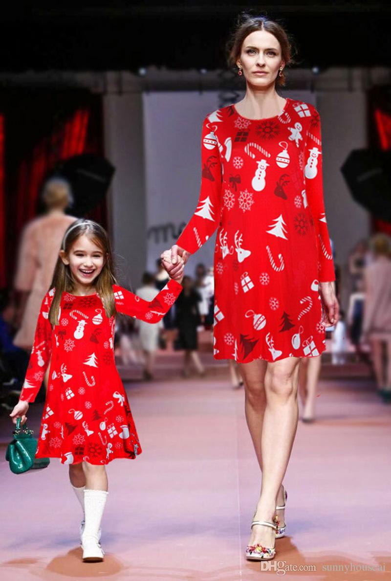 15fca83091e08 Acheter Mère Fille Correspondant Robes De Noël À Manches Longues Imprimé  Col Rond Adorable Enfants Filles Vêtements Tenues De Famille De  13.87 Du  ...