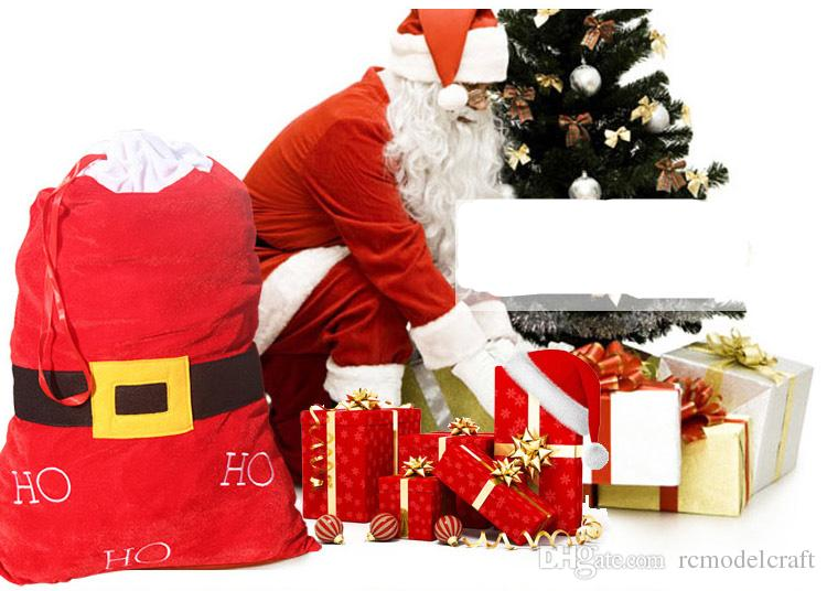 Red Candy Gifts Bags Santa Claus cloth belt design HO HO HO Lovely Merry Christmas decoration