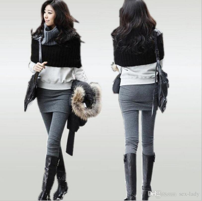 Women skirt legging Pants Mini Skirt Warm False Two Pieces leggings shiny leggings spring autumn 2 In 1 Pants For Women