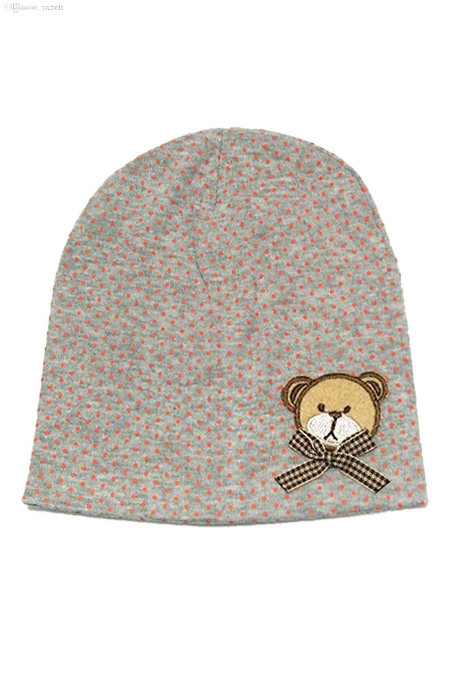2019 Wholesale FS Hot Baby Girls Boys Winter Cap Dot Bear Cotton Blended Hat  Gray From Pamele 027f2af7d7a2