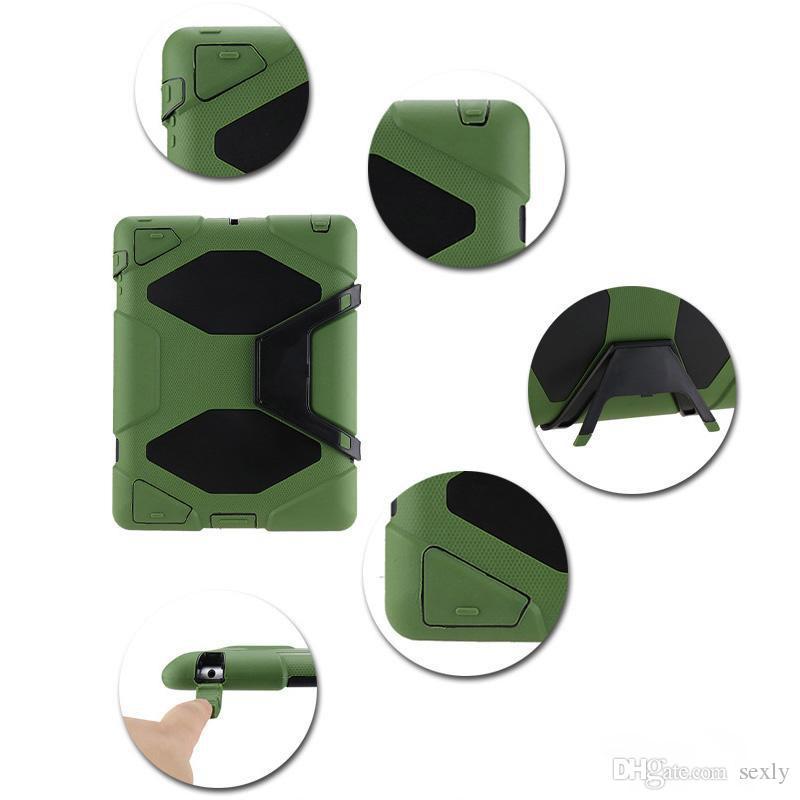 Obrońca Odporna na wstrząsy Robot Case Wojskowy Heavy Duty Silikonowa pokrywa z Stojakiem Hoder IPad Air 3 Ipad 234 IPAD Mini Mini4 dla Samsung Free DHL