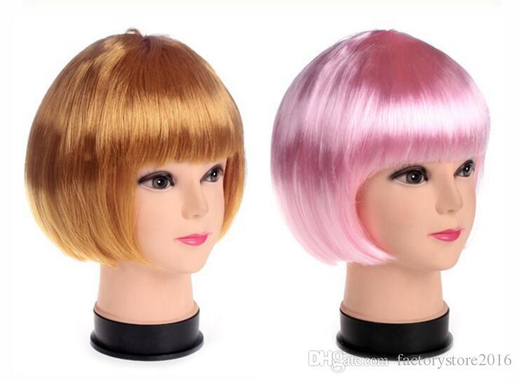 Nouveau Perruques de style Bob Style Bob Style Perruques Candy Couleurs Halloween Christmas Court Cosplay Cosplay Perruques Soirée Fête Fantaisie Perruques de cheveux