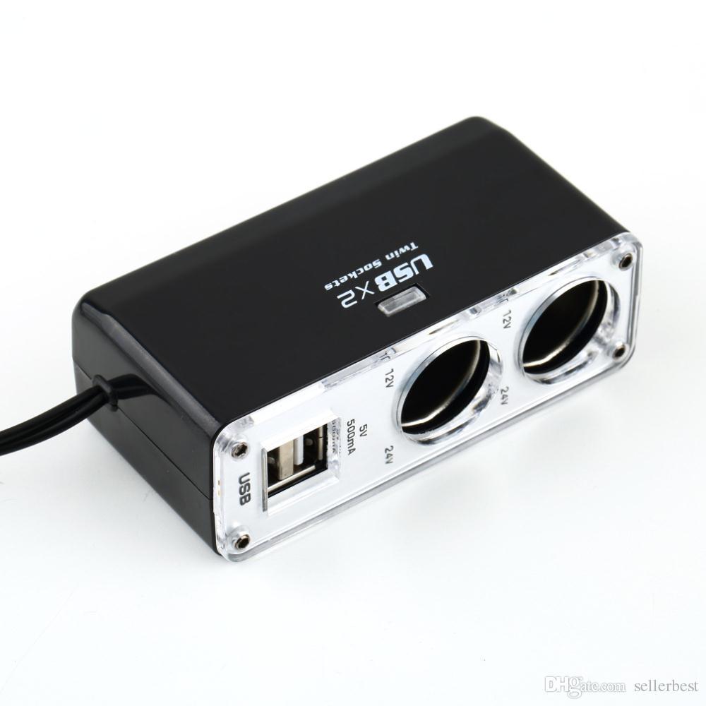 34063II Double Socket Double Port USB 2 Voies Auto Voiture Cigarette Socket Splitter Chargeur Adaptateur Plug avec Câble DC 12 V Nouveau