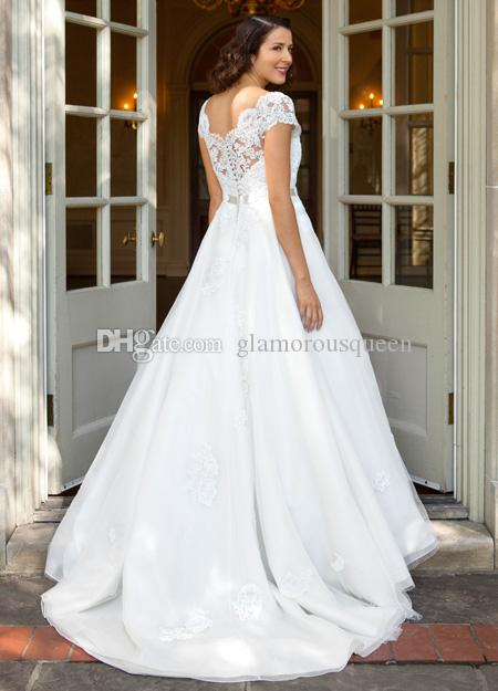 Moderne eine Linie V-Ausschnitt weiße Organza Brautkleider mit kurzen Ärmeln mit Perlen Gürtel Neue Ankunft Hochzeit Brautkleider