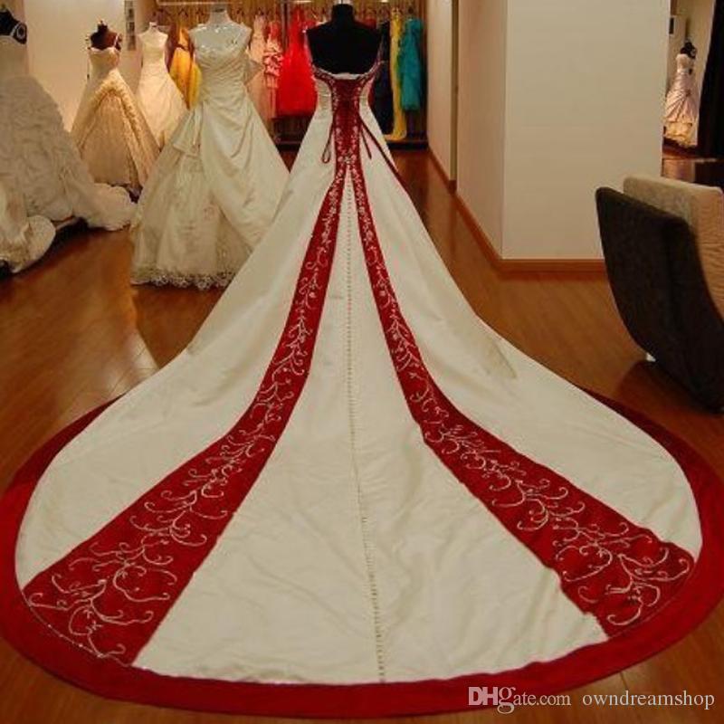 2019 annata bianco e rosso raso A cappella linea vestiti da sposa senza spalline treno Lace Up Plus Size Chiesa festa nuziale possiede Abiti da sposa