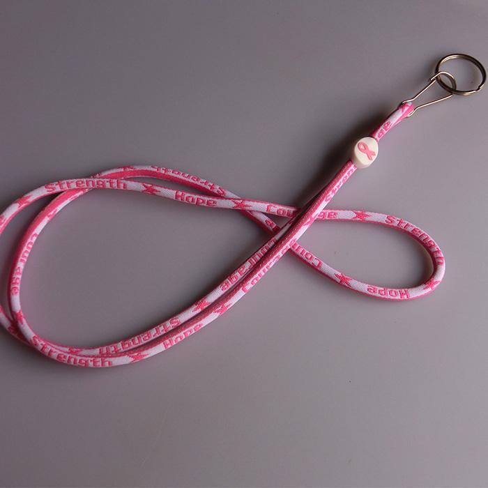 Collier de lanière de titane rose ruban de cancer du sein porte-clés pour la carte d'identité cellule téléphone portable porte-clés